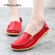 plardin 2016 Genuine Leather Women Ballet Flats 16 Colors Shoes Woman Flat Loafers Women's Genuine Leather Nurse Casual Shoes(China (Mainland))