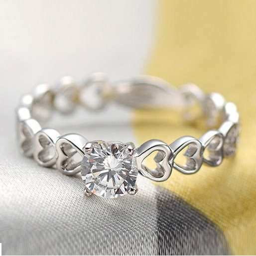 50% off The Finger Ring Heart Love 925 Sterling Silver Fashion Wedding Rings for Women Simulated Diamond Jewelry Ulove J391(China (Mainland))