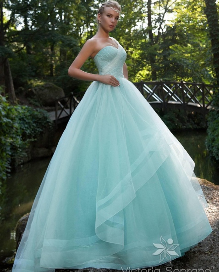 Buy cheap bridal bride ball gown sky blue for Green beach wedding dresses