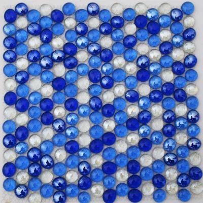 Mediterranean blue glass beads round mosaic tiles for pool wall bathroom tile personalized mosaics FREE SHIPPING<br>