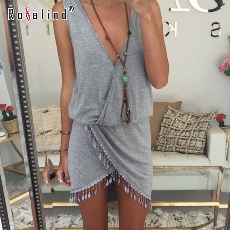 2015 Casual Women Summer Style Dress Fringe Tassel Dress Sexy Grey V-Neck Tulip Smock Waist Front Wrap Vestido Bodycon Boho Robe(China (Mainland))