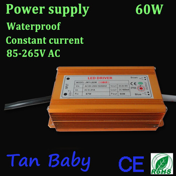 free shipping led power supply 60W waterproof led dirver 85-265V AC 1800mA constant current for high power led lamp