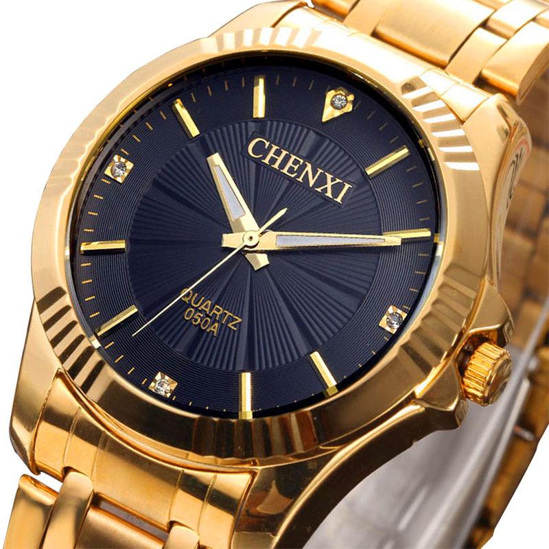 2015 Gold Color Watch Men Luxury Brand Top Wristwatch Male Clock Golden Stainless Steel Wrist Watches Quartz Business AB595<br><br>Aliexpress