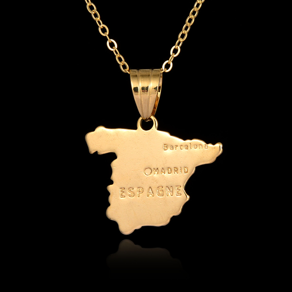 Personalized Jewelry Hot Spain Country Map Pendant Necklace Great 18K Gold Plated Charms Necklace For Women Men Collier Kolye(China (Mainland))