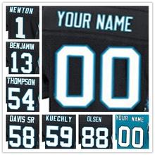 100% Stitched With Customized Men's #1 Cam #13 Kelvin #54 Shaq #58 Thomas #59 Luke #88 Greg Elite Black Blue White Jersey(China (Mainland))