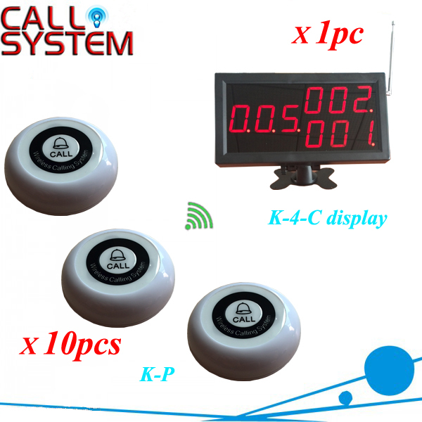 Cheapest Wireless Waiter Calling System For Restaurant Equipment one display and 10 Table Bell K-P(China (Mainland))