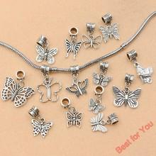 14pcs Tibetan Silver Tone Butterfly Dangle Beads European Charms Bracelet Jewelry DIY Jewelry Findings Floating Charm