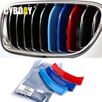 3D М Стайлинга Автомобилей Передняя Решетка Отделка Полосы Наклейка Для BMW E60 E90 3 4 5 X1 X3 X4 X5 X6 GT F10 F18 F35 F30 F25 F26 F48 F15 F16 F07