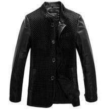 Free ship Mens Coats Sheepskin Leather Jackets Men Sheepskin Jacket Genuine 2013 Designer Boys Autumn Coat Black Large Size S281(China (Mainland))