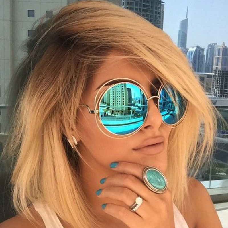 Vintage Round Big Oversized lens Mirror Brand Designer Pink Sunglasses Lady Cool Retro UV400 Women Sun Glasses Female KQW123(China (Mainland))