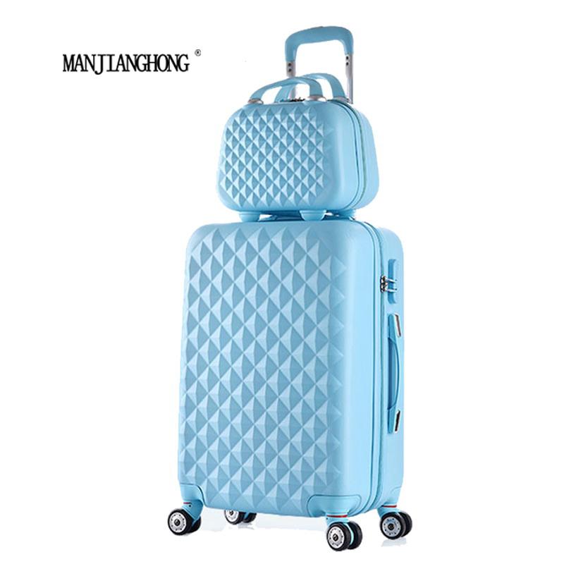 "2 PCS/SET beautiful 14 polegada Cosmetic Bag 20""24""28""polegadas girl students trolley travel luggage suitcase with wheels woman(China (Mainland))"