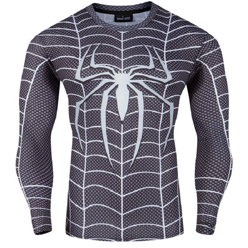 DC Movie Costumes Black Spiderman 3D print tshirt homme Autumn Long Sleeve t shirt men Quick drying mens t shirts fashion 2016(China (Mainland))