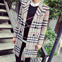 2015 Fashion Mens Plaid Double Breasted X-long Trench Coat Autumn Turn-down Collar Loose Peacoat wth Pockets Dust Jacket(China (Mainland))
