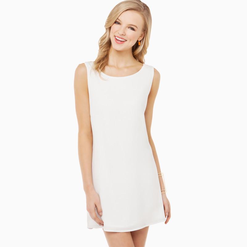 2015 New O Neck Backless Straight Womens Girls Ladies Dress Vestidos Sleeveless Above Knee Lace One Piece Chiffon White/Pink(China (Mainland))