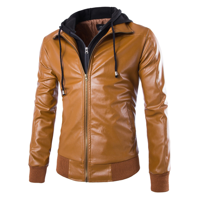 2015 New Arrival Spring Detachable Cap Short Paragraph Slim Washed Leather Motorcycle Jacket Mens Hooded Leather Jacket 13M0170Одежда и ак�е��уары<br><br><br>Aliexpress