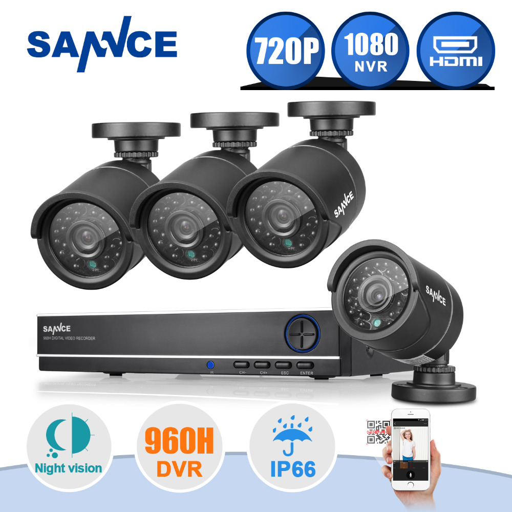 New! SANNCE 4CH CCTV System 720P DVR 1280TVL IR Weatherproof Outdoor CCTV Camera Home Security System Video Surveillance Kits(China (Mainland))