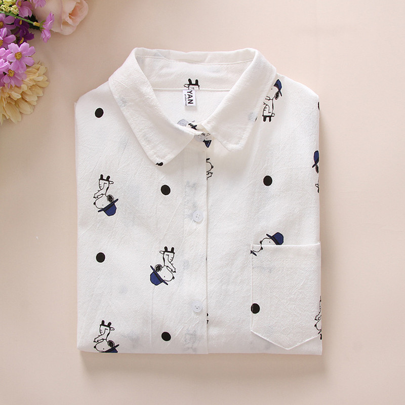 2016 New Autumn Fashion Long Sleeve Cotton Blouse Blusas Feminina Ladies Smart Dog Print White Blouses Women Mujer Comfort Shirt(China (Mainland))