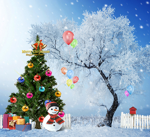 10X10ft   thin vinyl photography  Elk snow pine tree backgrounds  christmas backdrop for Photo studio CM-6416<br><br>Aliexpress