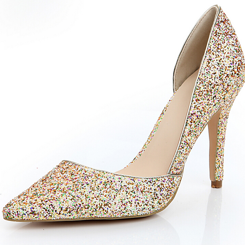 2015 sparkling glitter wedding shoes handmade colorful
