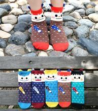 10pcs/lot Wholesale printed Cute women socks Casual Sport meias femininas Cheap Cartoon funny women socks (China (Mainland))