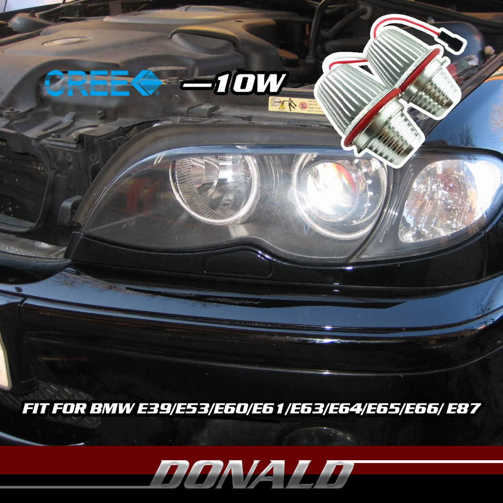 2x 10W 12/24V 1400LM White CREE LED Car Marker Angel Eye Halo HeadLight Lamp Source for E39 E53 E60 E63 E64 E65 E66 E87 Canbus(China (Mainland))
