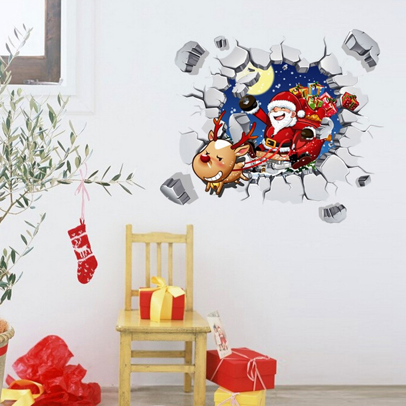 free shipping Decorative removable 3d christmas wall sticker home decor wallpaper art wall decal(China (Mainland))
