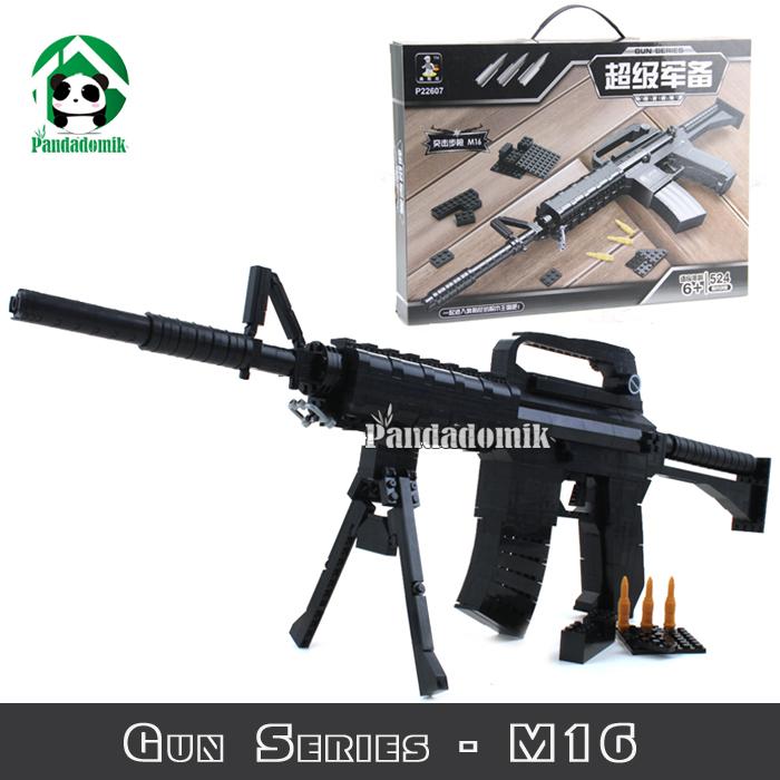 M16 Automatic Rifle Large Size Gun Building Blocks Set 52Bricks Weapon Compatible lego Models & Army - Pandadomik store