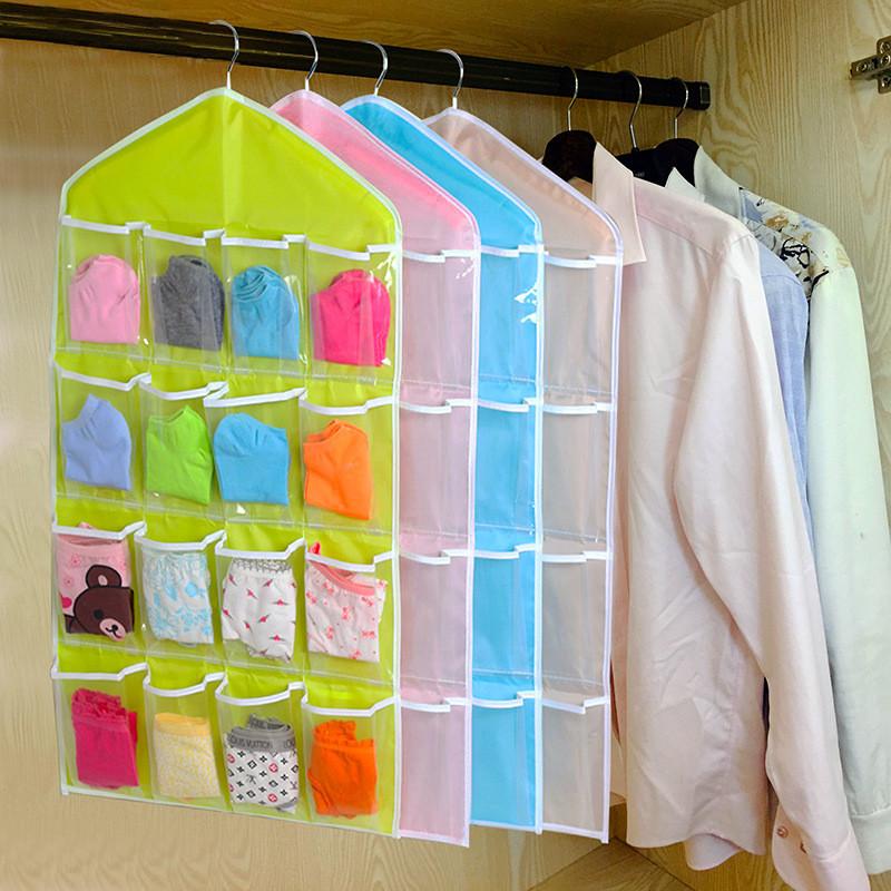 Top Selling 16 Pockets Multifunction Underwear Sorting Storage Bag Door Wall Hanging Closet Organizer bag cajas organizadora(China (Mainland))