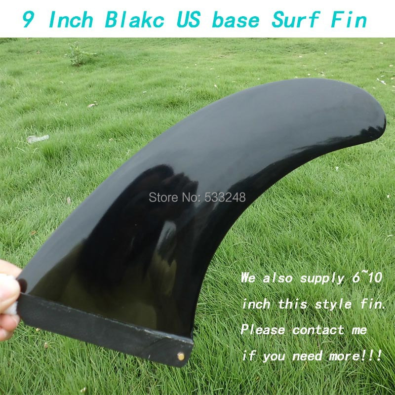US base 9'' black FCS fiberglass longboard fins/9 inch center surf fins Hot sell wholesale fin(China (Mainland))