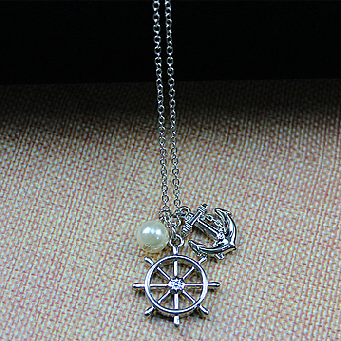 2015 the European and American antique rudder anchor navy style silver design female long statement pearl pendant necklace(China (Mainland))