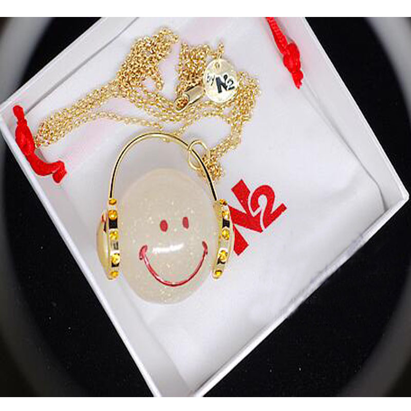 French Les Nereides N2 sweet headphones smiling face necklace gift box Candy color smiling face sweater chain<br><br>Aliexpress