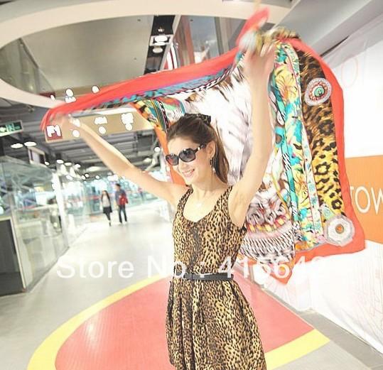 China post air 20 PCS Women Fashion Summer scrawl scarves Beach chiffon shawl 5 colors Drop ship can mix 1100400(China (Mainland))