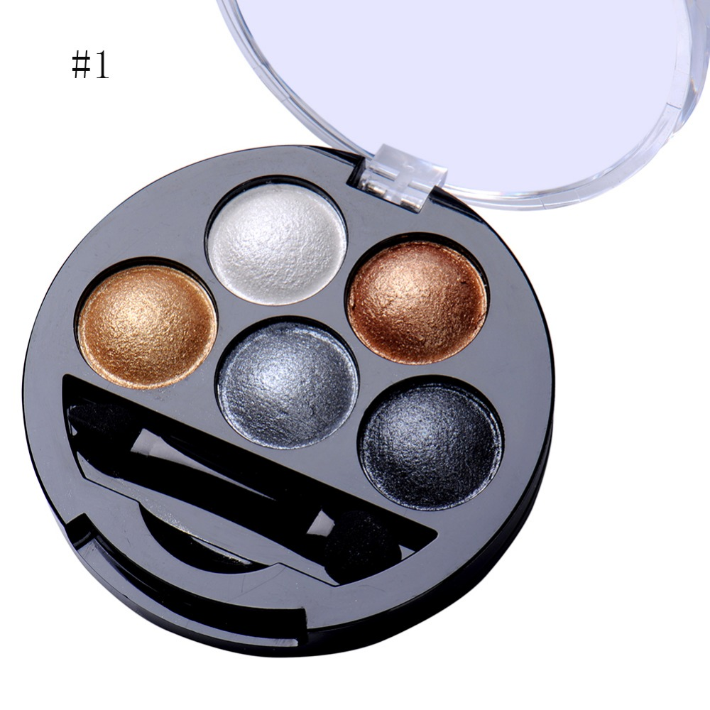 5 Colors Pigment Eyeshadow Palette Eye Shadow Powder Metallic Shimmer Makeup Beauty Profissional Make Up Warm Color Waterproof