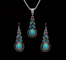 Free Shipping Women Jewellery Vintage Tibetan Silver CZ Crystal Chain Pendant Necklace Earrings Set Turquoise Jewelry sets(China (Mainland))