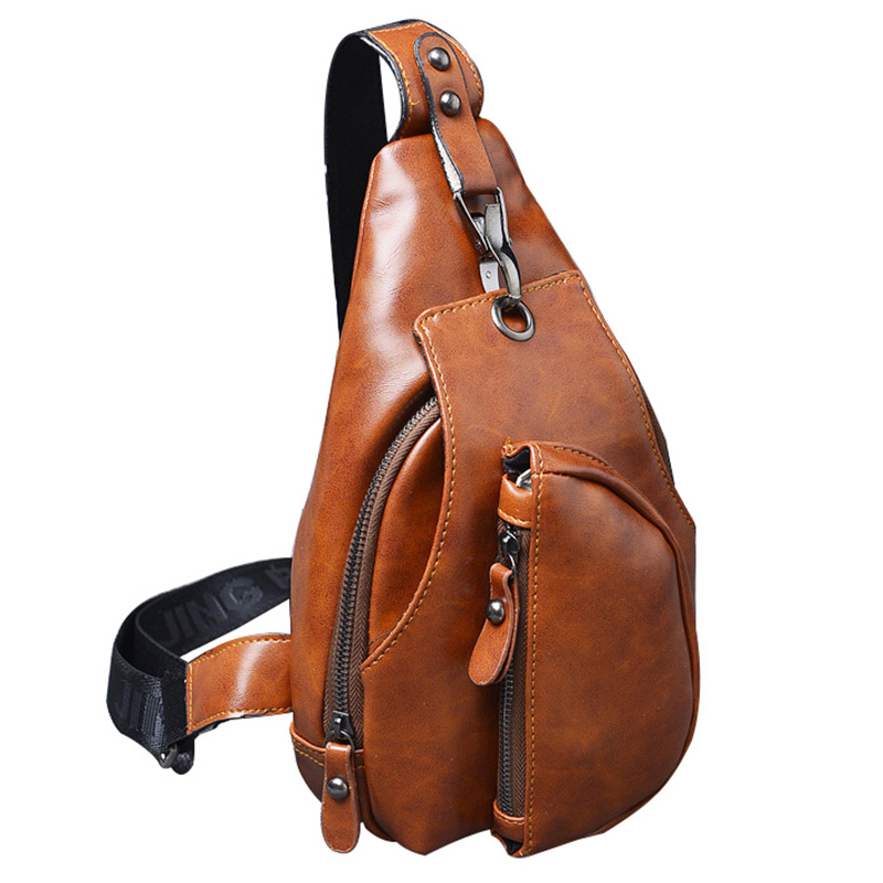 2016 New men messenger bags business man chest pack mens chest bag pack one shoulder crossbody bags for men leather bags(China (Mainland))