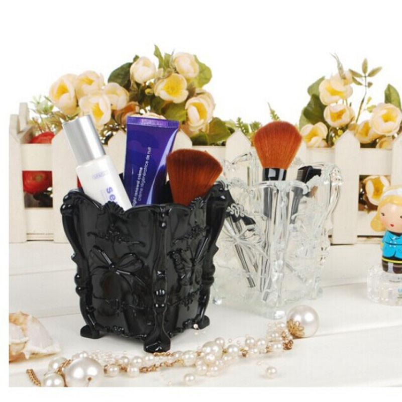 Plastic Retro Acrylic Makeup Cosmetic Storage Box Case Brush Pen Pencil Holder plastic table desk holding glass drop shipping(China (Mainland))