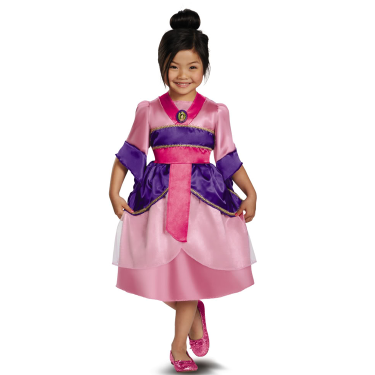 Limited Real Kids Princess Mulan Sparkle Child Dress Girls Halloween Cosplay Costume Carnival Fantasia Fancy Party Dress(China (Mainland))