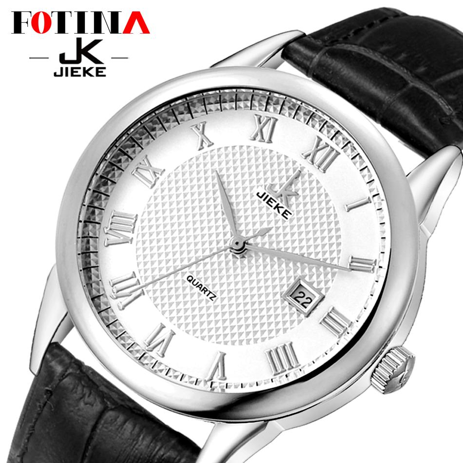 FOTINA Fashion Brand JK Watches Chronograph Men Watches Sports Quartz Watch Fashion Silver Wrist Watch Men Black Leather Strap(China (Mainland))