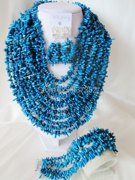 Fabulous Nigerian Wedding Coral Beads African Jewelry Set Navy Blue Necklace Bracelet Earrings Set Free Shipping CWS-525<br><br>Aliexpress