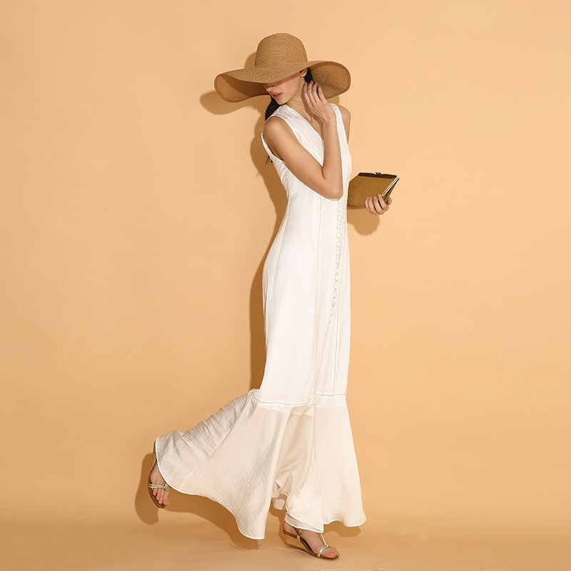 LY015-New-Arrival-Summer-2016-sleeveless-buttons-long-maxi-elegant-bohemian-beach-style-white-vintage-dress (4)
