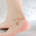 Top Quality 18KGP Rose Gold Plated Titanium Steel Coin Double deck Anklet Fashion Brand Jewelry for