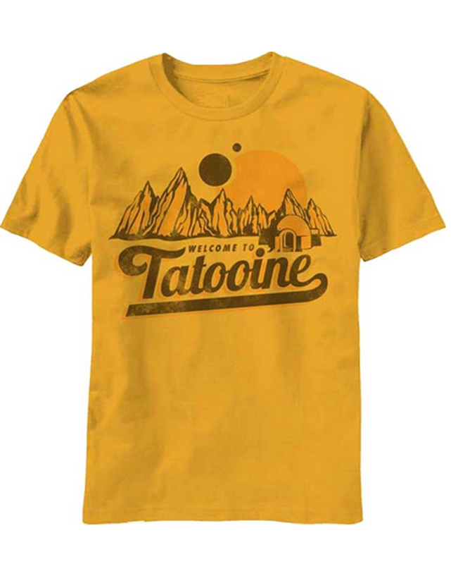 Star wars welcome to tatooine men 39 s gold t shirt 2016 new for Best mens dress shirts 2016