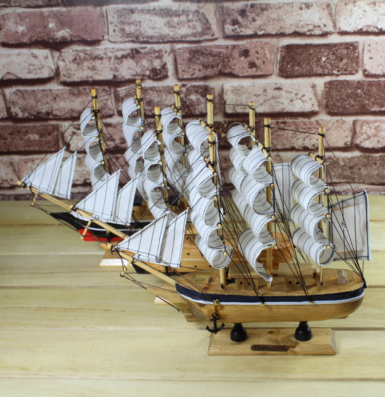 2pcs/lot Mediterranean Style 24cm Wooden Sailing Boat Handmade Carved Model Craft <font><b>Home</b></font> <font><b>Nautical</b></font> <font><b>Decoration</b></font>