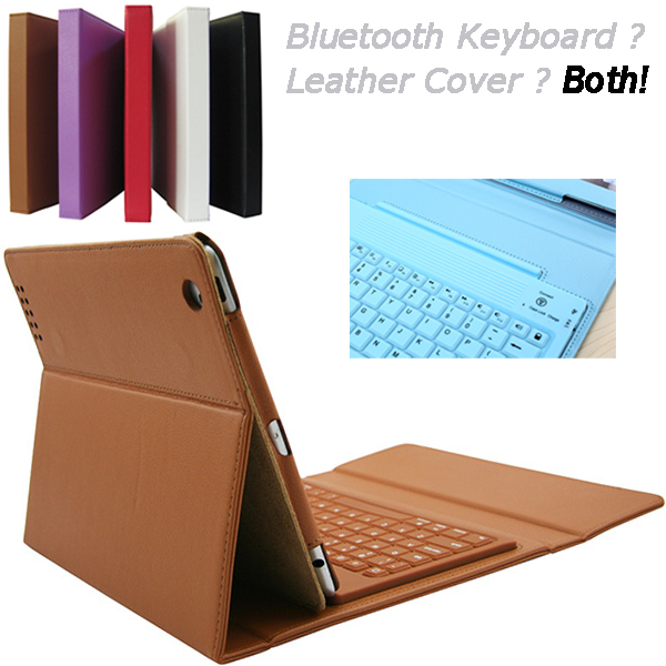 Hot Smart Bluetooth Keyboard PU leather cover case for ipad 2 3 4 with silicon button fold stand(China (Mainland))