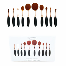 New Brand 10PCS Professional Toothbrush Oval Makeup Brushes Foundation Powder and Cream Make up Brushes Beauty Tools ROSE Gold