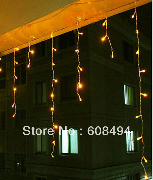 180 LED 6M curtain lights Led icicles lights lamps with tail plug Icicle Lights Xmas Wedding Party Decorations- YELLOW(China (Mainland))