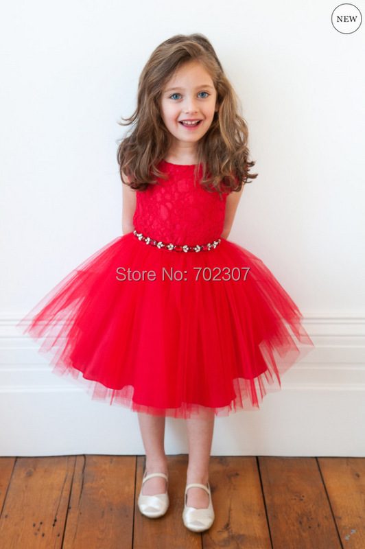 2015 New summer girl casual dress,Children Girl Red lace flowers gauze Dress girl party dress 5pcs/lot free shipping D50(China (Mainland))