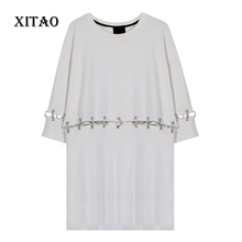 Buy XITAO Europe street fashion BF wind female removable metal ring long sleeved o-neck pullover solid color long T-shirt HZJ009 for $31.02 in AliExpress store
