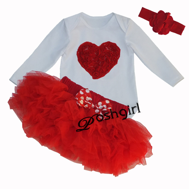 2017 Baby Girl Clothes 3pcs Clothing Sets Love Heart Cotton Jumpsuit with 6 Layers Tutu Skirt Headband Set Newborn Birthday Gift(China (Mainland))