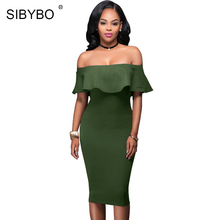 Buy Sibybo Shoulder Short Sleeve Burgundy Ruffle Summer Dress 2017 Women Sexy Slim Bodycon Mini Evening Club Dresses for $10.11 in AliExpress store
